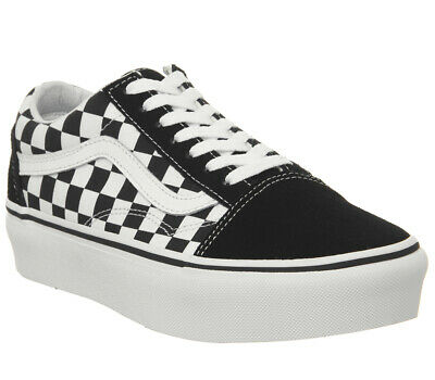 Womens Vans Old Skool Platform Trainers Black Checkerboard True White Trainers S