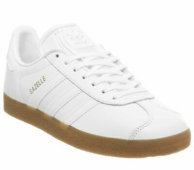 Mens Adidas Gazelle Trainers White White Gum Trainers Shoes