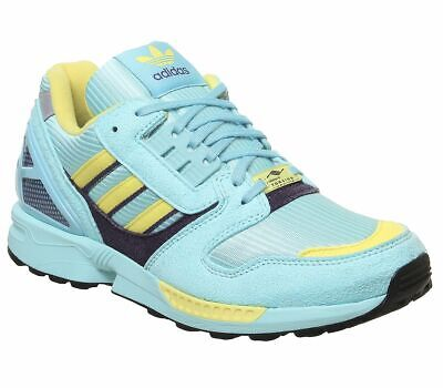 Adidas Zx 8000 Trainers Clear Aqua Light Aqua Shock Yellow Trainers Shoes