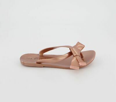 Womens Ted Baker Luzzi Flip Flops Rose Gold Sandals