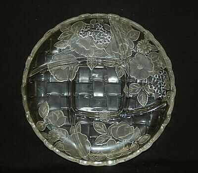Mikasa Embossed Frosted & Clear Glass 5 Part Serving Platter Floral Designs