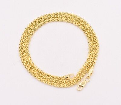 2.4mm Round Wheat Spiga Chain Necklace Real 14K Yellow Gold Lobster Lock  (Round Spiga Chain)