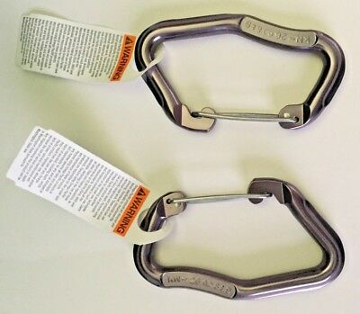 OMEGA PACIFIC rock climbing carabiner set / 2 NEW omegalite grey wire gate 4.0
