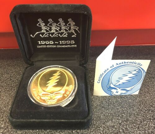 GOLD TONE GRATEFUL DEAD SILVER PROOF OUNCE COIN STEAL YOUR FACE DANCIN SKELETONS