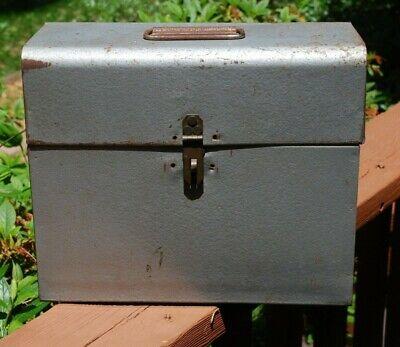Vintage Gray Metal File Document Box Unbranded