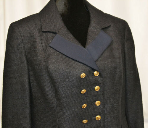 Carlisle Sz 12 Double Breasted Dark Navy Blazer Metal Gold Buttons Jacket Chain