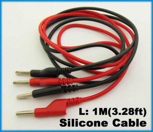1pair Silicone High Voltage 4mm Banana Plug to Banana Plug Test Leads Cable(US)