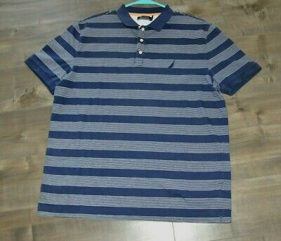 Nautica Mens Size XL Short Sleeve Polo Shirt Blue  Stripe EUC (M3)