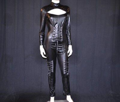 Black Spandex Keyhole Neck Lace Up Front Corset Syle Catsuit Long Sleeve Unitard