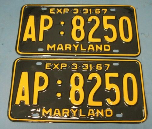 1967 Maryland License Plates Matched Pair professionally restored show quality