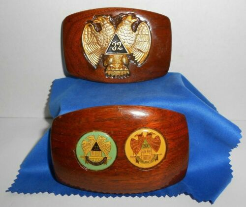 32ND Degree Masonic Hand Made Wood Belt Buckles Lot