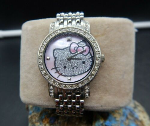 Sanrio Hello Kitty Watch - Silver-Tone Studded with Crystal Bezel NEW BATTERY!!!