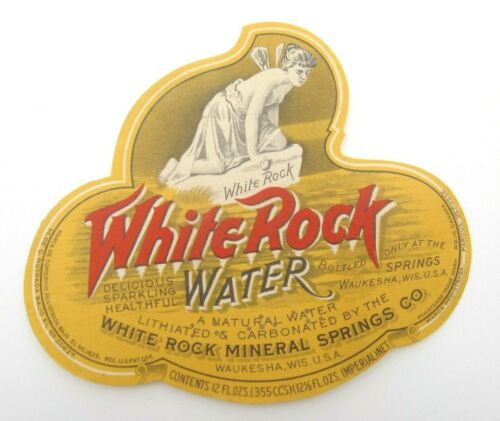 VTG White Rock Natural Sparking Mineral Springs 12oz Water Waukesha WI Label (A)