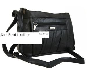 Ladies Nappa Leather Organizer Handbag  1968 Black Shoulder Bag