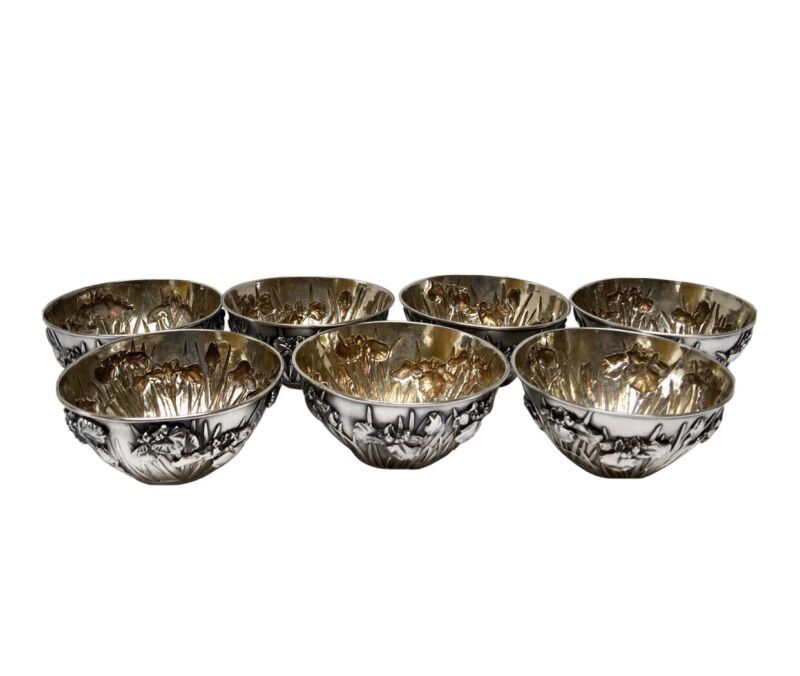 Antique Samurai Shokai Japanese Pure Silver Iris Motif Bowls - Set of 7