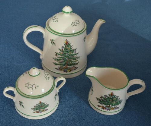 Spode Christmas Tree 3-Piece Tea/Coffee Set with Sugar, Creamer, 2 Lids Preowned