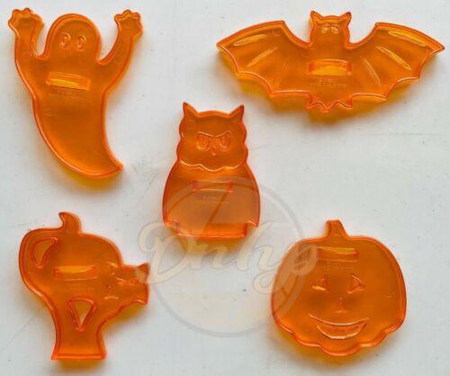 HALLOWEEN Bat Cat Ghost Owl  Pumpkin Lot (5) Cookie Cutters 1980s Hong Kong