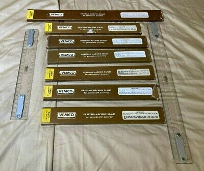 VINTAGE VEMCO DRAFTING MACHINE SCALE RULERS IN ORIGINAL BOXES - VARIOUS SIZES