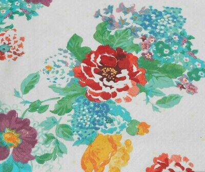 FABRIC-2 Pioneer Woman Floral Tablecloth Covers-Cottage Country Coral Teal White