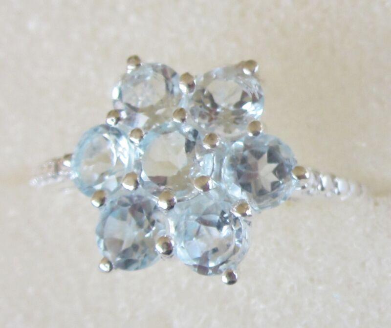 Sky Blue Topaz Flower Ring in Sterling Silver, size 5