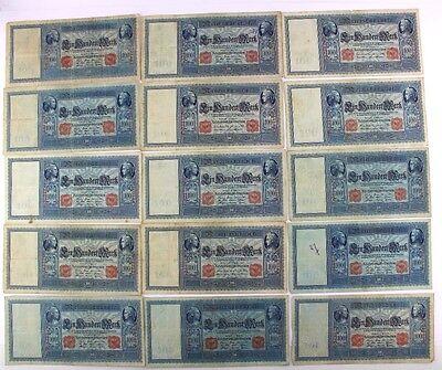15 x Ro. 35 38 43 Banknote 1000 Mark 1908 1909 1910 Reichsbanknote Konvolut