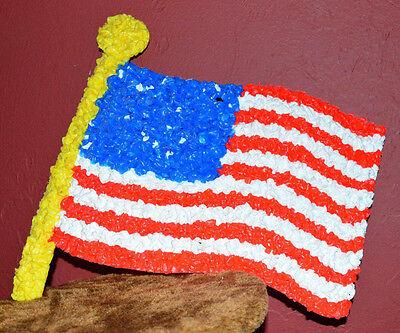 Vintage Flag Patriotic 4th of July USA Melted Plastic Popcorn Decoration Hanging