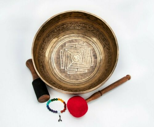 12 inches Mandala carved Handmade singing bowl-Master Healing Himalayan yoga