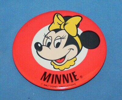 NICE VINTAGE DISNEY MINNIE MOUSE YELLOW BOW PIN BACK BUTTON 3 1/2""