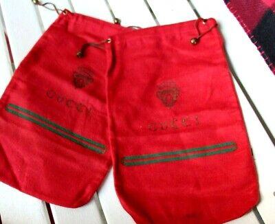 Vintage Pair Gucci Drawstring Shoe Bag - Red Cotton Felt, 14 x 8 3/4 Collectible