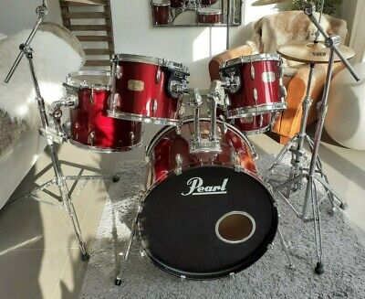 Pearl Export 5pc Drum Kit Wine Wrap Sabian Paiste Cymbals Fusion Sonor Stands