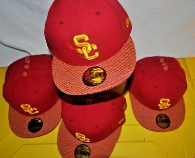 Usc Trojans Baseball Cap (USC NEW ERA RED/GOLD USC Trojans Baseball cap Hat 59fifty Fitted 7.5  Flatbill )