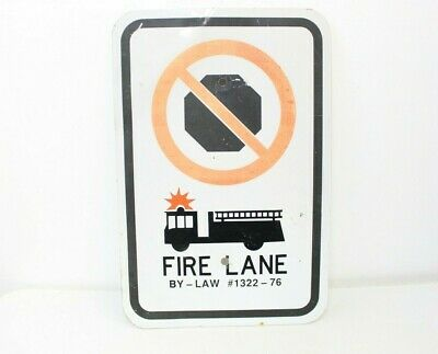 Vintage No Parking Fire Lane Metal Street Sign Car Truck Store