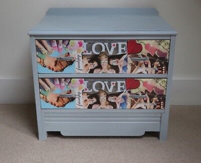 Shabby Chic Chest of Drawers - Decoupage festival design  - Teenager Present