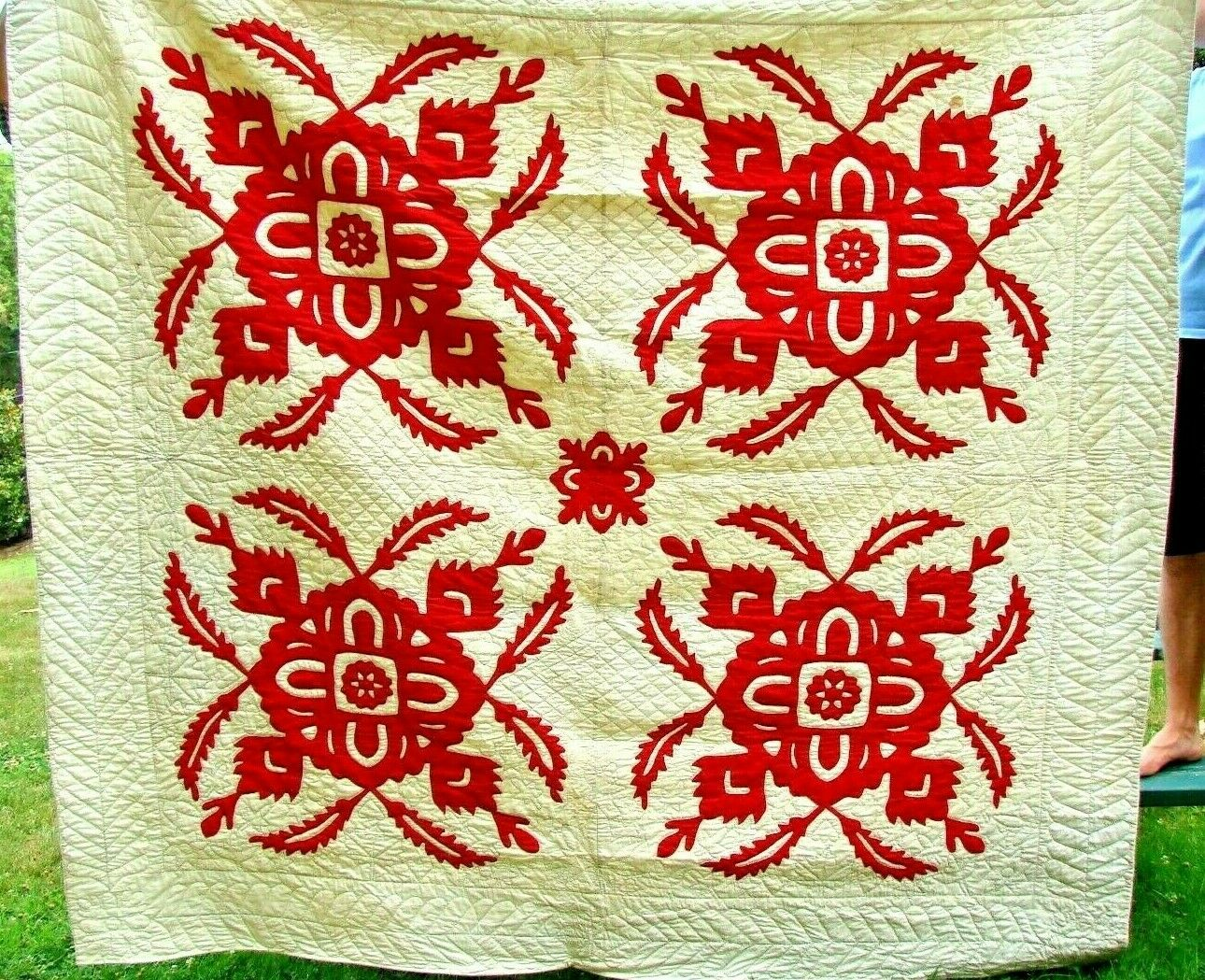 ANTIQUE ESTATE PA HANDSTITCHED APPLIQUE RED WHITE QUILT 1800 S EARLY 1900 S  - $177.50