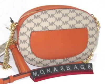 Michael Kors Studio Signature Ginny Crossbody Natural & Orange Handbag NWT $228