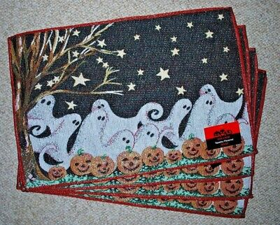 SET OF 4 TAPESTRY PLACE MATS/ HALLOWEEN/ GHOST/JACK O LANTERNS BLACK/STARS  NWT - Halloween Place Mats