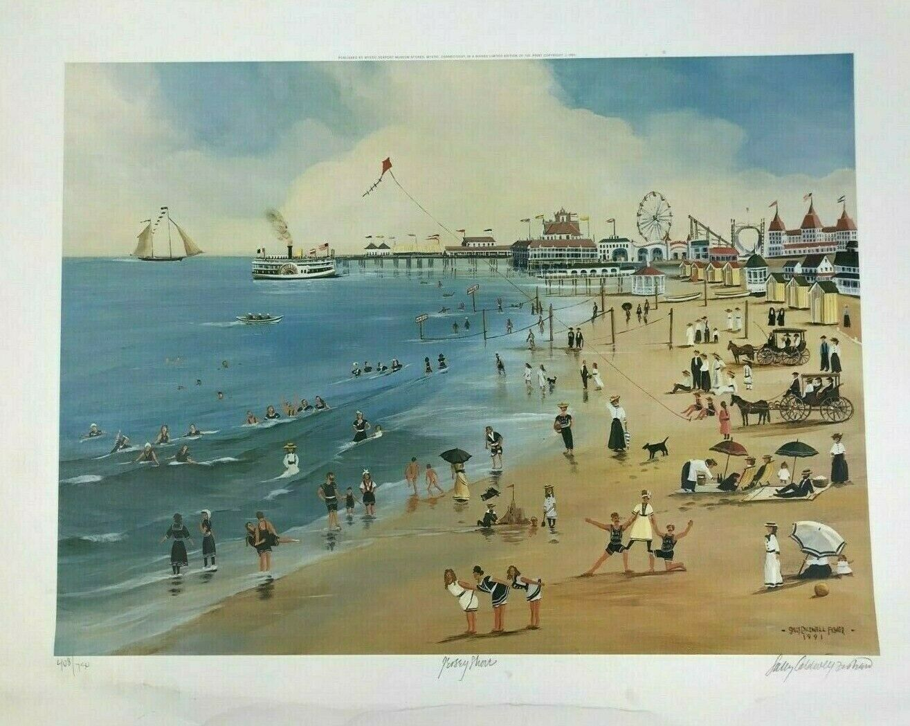 Vintage Sally Caldwell Fisher Signed Limited Edition Print Jersey Shore  - $249.99