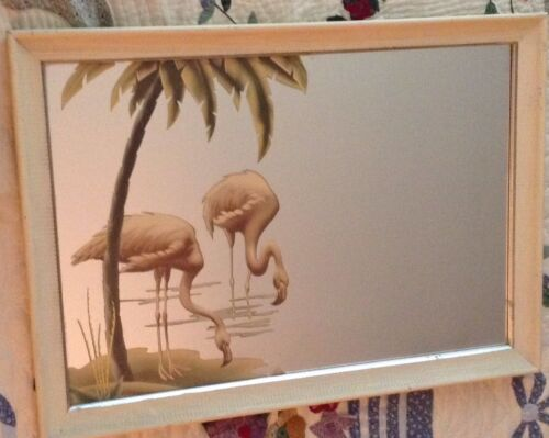 1940s 1950s Turner Pink Flamingo Framed Wall Mirror Mid