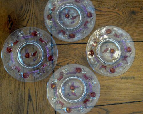 "4 Westmoreland Della Robbia Red Flash Plates 7 1/8"" Salad Dessert Grapes Pears"