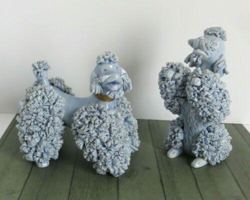 Vintage Pair of Blue Speghetti Poodle Figurines