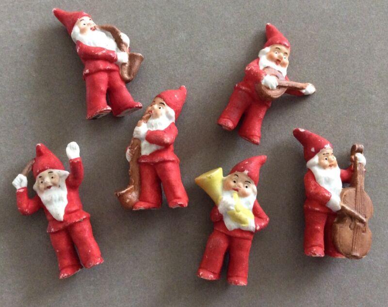 Six(6) Piece Antique German Bisque Santa Musical Band