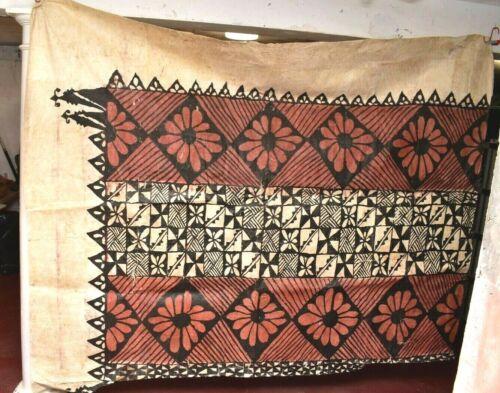 "LARGE Vintage Polynesian Tapa Bark Cloth Pacific Islands Oceania 104"" X 87"""