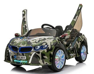 RIDE ON CAR ELECTRIC BMW I8 STYLE REMOTE CONTROL 12VOLTS ARMY CAMOUFLAGE PAINT