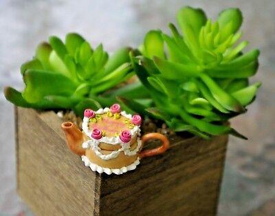 Dollhouse Miniature HAPPY BIRTHDAY PINK ROSES YELLOW CAKE Teapot Fairy Garden