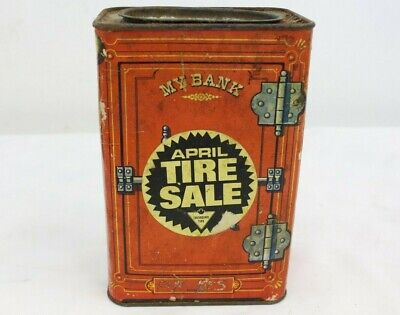 Vintage Canadian Tire Tin Bank With Paper Label Coin Bank Advertising Promo -M74