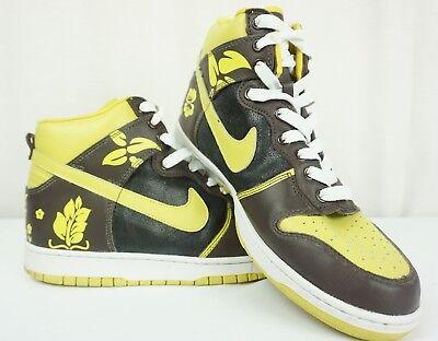 Men's Nike Dunk High Customs Chocolate Froral Basketball Sz 11 Brown Mustard (Basketball Chocolates)