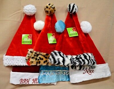 U PICK Santa HAT Nice NAUGHTY Red BLUE Zebra CHEETAH Bah HUMBUG Plush NEW  - Bah Humbug Halloween