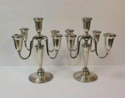 """Pair Vintage Poole Sterling Silver 5-Lite 10.5"""" Candelabra / Candlesticks"""