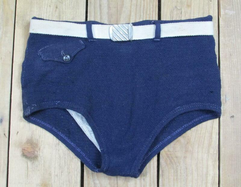Vintage 1940s Pilgrim Wool Knit Swimsuit Blue Bathing Suit Antique Board Shorts