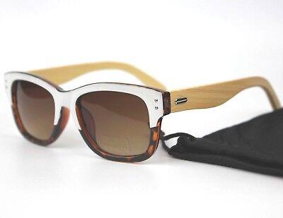 Damen Holz Tempel Rechteckig Gläser mit Verlaufstönung Sonnenbrille UV400 +